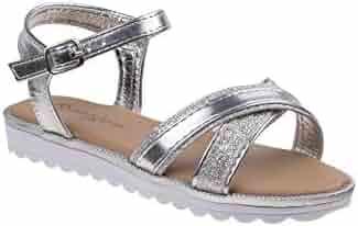 ac04375652b0 Nanette Lepore Girls Silver Crisscross Strap Buckle Sandals 11-4 Kids