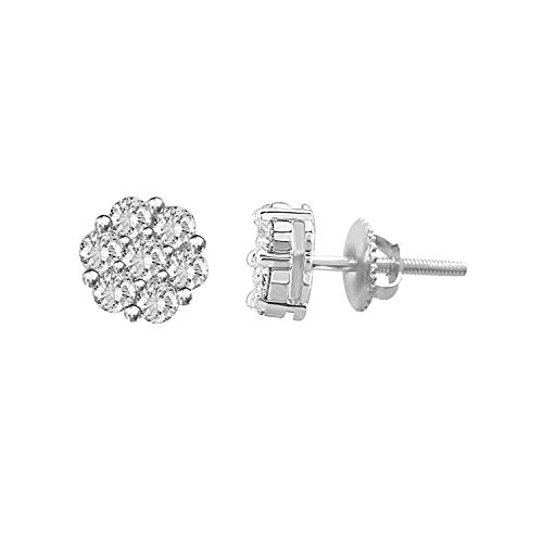 (10k Gold Round Natural Diamond Flower Cluster Stud Earrings 4.50 mm (1/6 cttw, H-I Color, I3 Clarity) (white-gold))