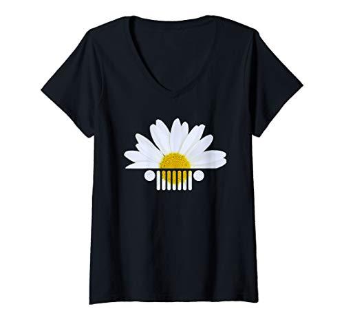 Womens Daisy Jeep Funny V-Neck - Daisy T-shirt V-neck Womens