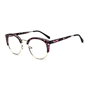 MOQQE Eyeglasses Glasses Frame Eyewear Fashion Cateye Round For Men and Women(C5)