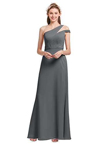 75bfd45adf2 Alicepub Asymmetric One Shoulder Bridesmaid Dresses for Women Long Chiffon  Prom Evening Party Gowns Plus Size, Steel Grey, US24