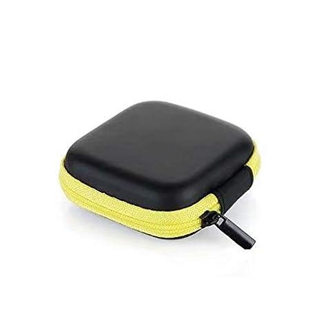 Anti choque Caja Auricular Cuero de la PU Anti choque cargador portatil Universal auricular bolsa estuche(Amarillo)