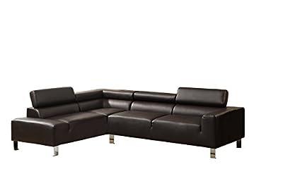 Poundex Bokona Miter Bonded Leather 2 Piece Sectional, Espresso
