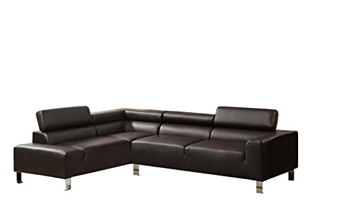 Poundex Bokona Miter Bonded Leather 2 Piece Sectional, Espresso