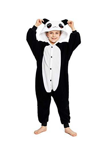 CANASOUR Unisex Halloween Kids Costume Party Children Cosplay Pyjamas (125#(Size 10), Red Eye Panda)