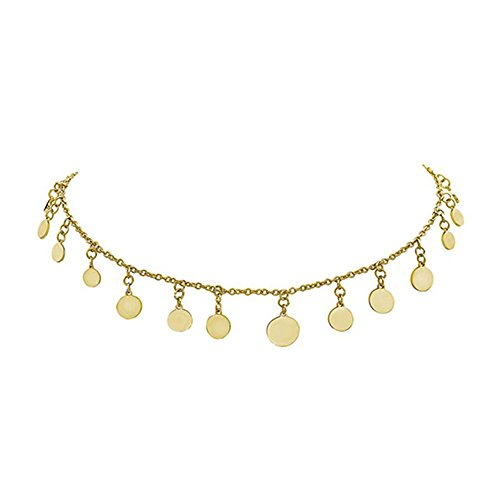 SEVEN50 Circle 16'' Small Spaced Dangle disc Choker Necklace Gold Plated | Single Row Necklace with 19 Round Discs (Yellow)
