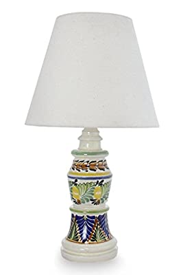 NOVICA Floral Ceramic Table Lamp, Multicolor, Mexican Floral'
