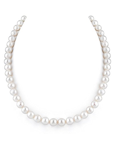 (THE PEARL SOURCE 14K Gold 8-9mm AAAA Quality White Freshwater Cultured Pearl Necklace for Women in 17
