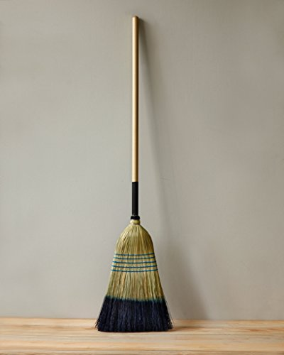 Push Brooms Corn Broom Made in USA Indoor Outdoor Natural with Black Dip  Bamboo Handle