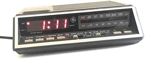 GE Dual Alarm Clock Radio Model 7-4616b Vintage Red LED Wood Grain