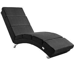 Casaria Fauteuil Relax de Salon   Noir/Blanc/Gris   Grand Confort   173 x 55 x 89 cm   Chaise Longue