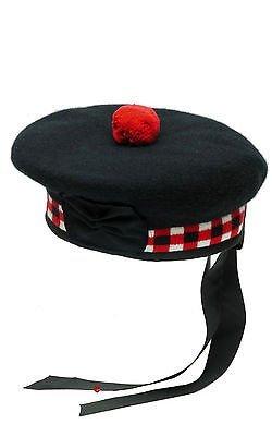 100% reine Wolle Schottische Balmoral gewürfelten Hat Rot, Weiß & Schwarz Balmoral HAT100% reine Wolle Schottische Balmoral gewürfelten Hat Rot, Weiß & Schwarz 56cm/UK 7