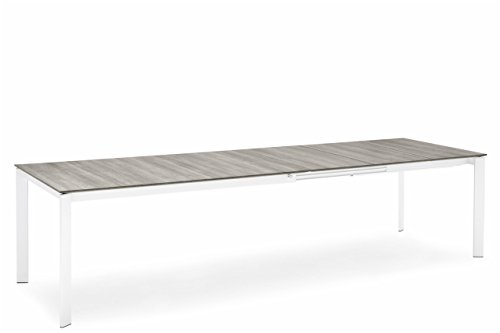 "Connubia Eminence M Metal Legs Extending Table - 63-83"" - Tempered Glass Frosted Extraclear Top - Metal Stained Matt Optic White Frame & Legs"