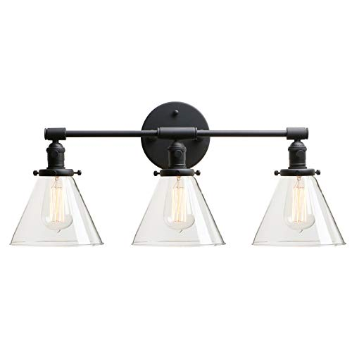 Permo Vintage Industrial Antique Three-Light Wall Sconces with Funnel Flared Clear Glass Shade (Black)
