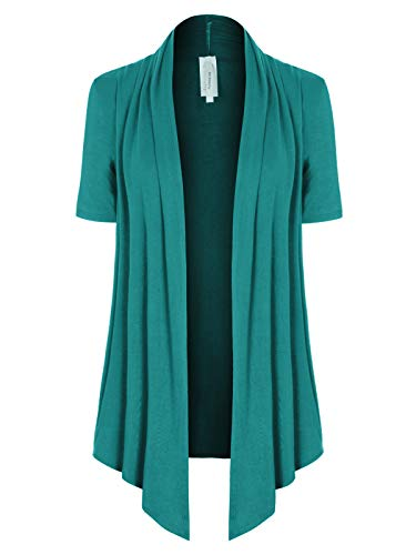 Open Front Cable - MixMatchy Women's [Made in USA] Solid Jersey Knit Short Sleeve Open Front Draped Cardigan (S-3XL) Jade M