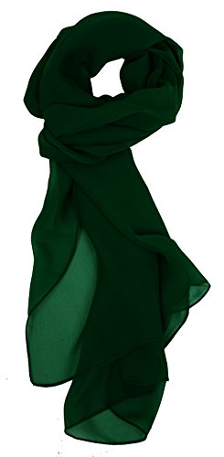 Love Lakeside Modern Chiffon Solid Color Silk Blend Oblong Scarf Country Club Green