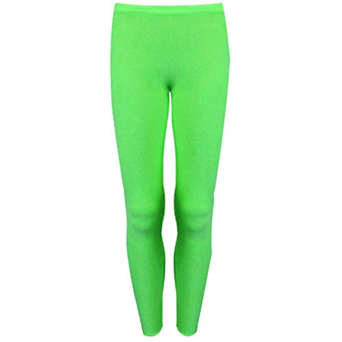 Papaval Girls Kids Footless Leggings Neon Shiny Nylon Lycra Children Sport Dance Ballet Gymnastics Tight Trouser