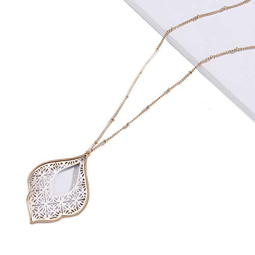 Gold Filigree Teardrop Necklace for Women Trendy Two Tone Geometric Statement Long Necklace Jewelry,Rose Gold,Multi - Gold Screws Stainless Steel Bracelet