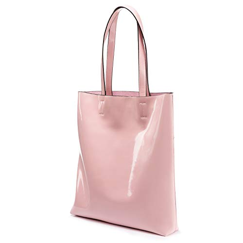 LOVEVOOK Tote Bag Patent Handbags for Women Travel Bag Softer, Scratch and Water Resistant Pink