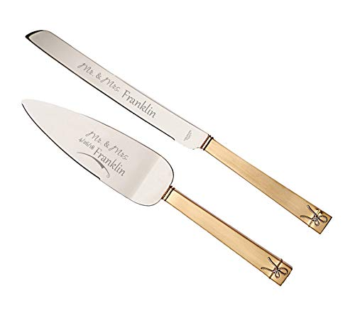 Wedgwood Vera Wang Love Knots Gold Personalized Wedding Cake Cutting Set, Engraved Wedding Cake Knife and Server, Wedding Cake Cutter