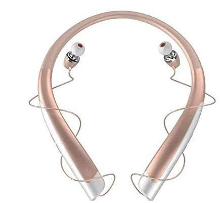 YATS - 1100 Bluetooth Headphones Wireless Retractable Headset Neckband Stereo Earbuds Dual in Ear Sweatproof Noise Cancelling Earphones (Rose)