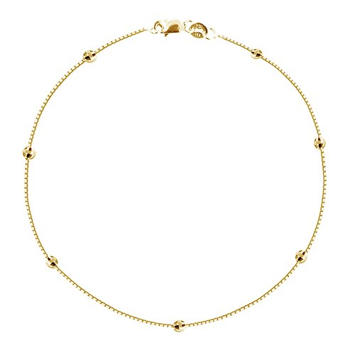 Ritastephens 14k Yellow Gold Box Diamond-cut Bead Station Foot Chain Anklet