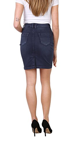 Jupe 44 Crayon Onado Femme Jupe au Casual Taille Jupe Jeans Mini Marine Bleu en Stretch 36 Courte qROwf