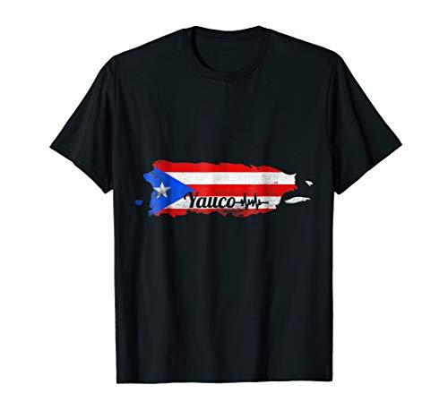 Puerto Rican Yauco Puerto Rico Heart Beat Map Flag