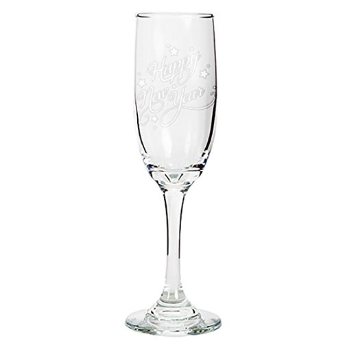 Tapered Champagne Flute Glasses, 6.25 oz - Happy New Year - Laser Engraved Text Gift