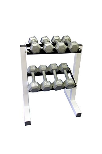 Ader 2-Tier 18'' Rack w/ 5, 10, 15, 20 lb Hex Dumbbells by Ader Sporting Goods