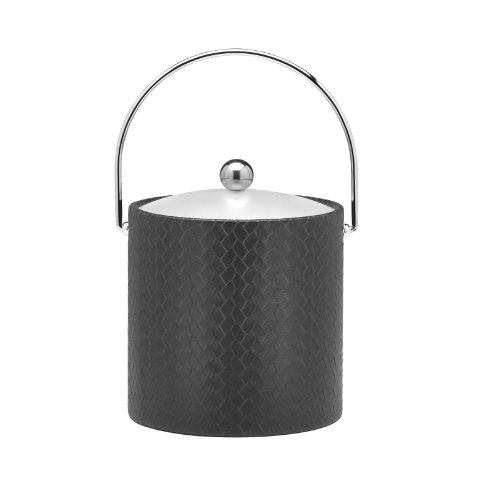Kraftware Ice Bucket with Bale Handle and Lucite Lid, Black - 3 Quart
