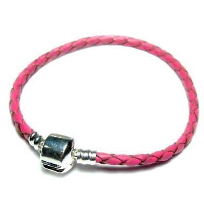 Pro Jewelry Braided Pink Leather Bracelet Available in (All Sizes in Drop Down Menu) (8.7 Inches)
