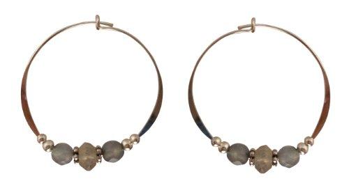 Bali Sky Large Sterling Silver Gray Faceted Bead Hoop Earrings SHL018