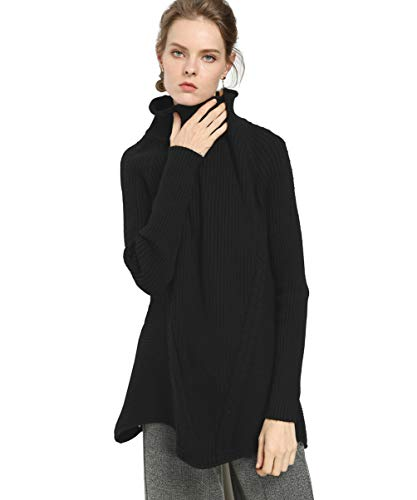 FINCATI Women's Sweater Pullover Turtleneck Cashmere Wool Soft Cozy Ribbed Elbow Oversized Long Sweaters Tunic (A-Black, One Size)
