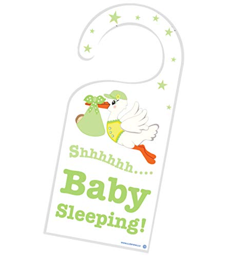 Boy Door Hanger - Shh New Baby is Sleeping Door Hanger - Unisex Nursery Room Newborn Sign - Green - Great Shower Expecting Gift