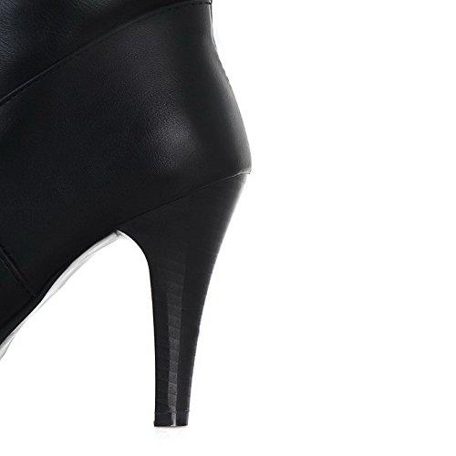 Boots AmoonyFashion Soft B Womens Solid Metalornament Heels M 6 High 5 US with PU Black Material and Stiletto PU RI8qRrwx