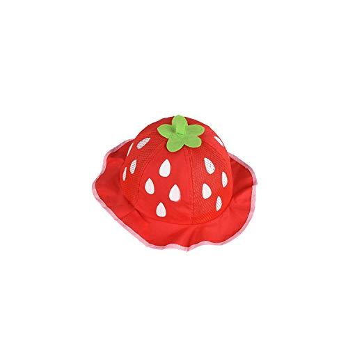 Sun hat Kids Girls Hat Bucket Hats Cute Mesh Sun Cap Dot Infant Strawberry Toddler Beanies Summer Baby Clothing,Mesh red