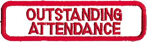 Tiger Claw Patch - Outstanding attendance in red