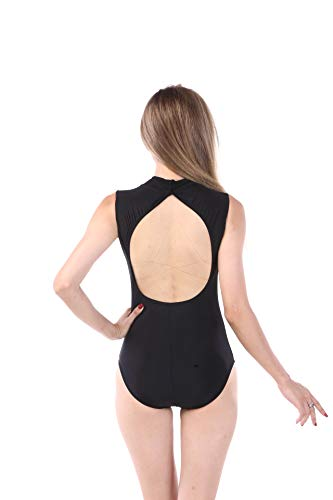(Women's Lycra Spandex Mock-Turtleneck Neck Sleeveless Open Back Yoga Ballet Dance Leotard (Black, M))