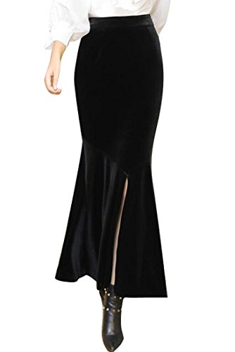LD Womens Velvet Stretchy High Waist Split Bodycon Fishtail Long Skirts hot sale