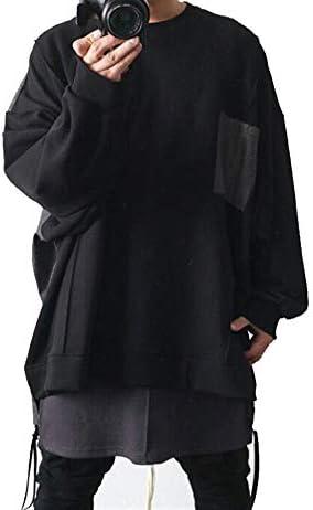 スウェット トレーナー メンズ 長袖 スーパー ワイド シャツ 切替 ブラック