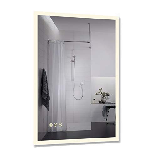 B&C 24x36 inch Lighted Bathroom Mirror Wall Mounted|High Lumen LED Lights with -