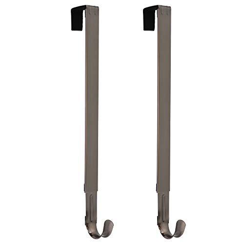 Haute Decor Adjustable Length Wreath Hook and Hanger - 2PACK - Brushed Nickel - Holds up to 20 lbs (Hangers Wreath Door)