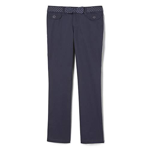 French Toast Little Girls' Polka Dot Straight Leg Belted Pant, Navy, 4 ()