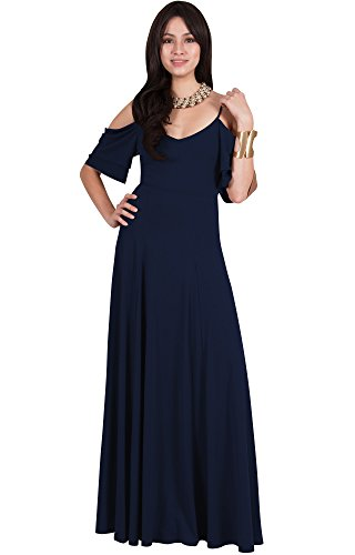 Viris Zamara Plus Size Womens Long V-Neck Short Sleeve Flowy Sexy Cold Shoulder Evening Cute Formal Cocktail Party Bridesmaid Wedding Party Dressy Gown Gowns Maxi Dress Dresses, Navy Blue XL 14-16