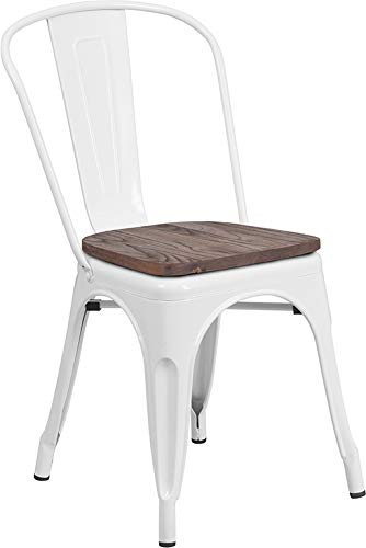 Wood Slat Seat - Flash Furniture Stackable Metal Chair with Wood Seat in White