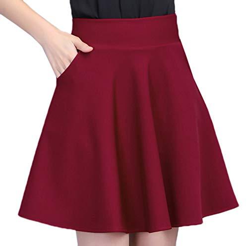 Skateur Base plisse Filles Poches Red pour Longue pour Jupette Extensible Jupe Taille Jupe mi avec Satin Scothen Courte plisse Mini Fille Haute Souple en plisse Solide Jupe Patineuse Femmes 1xaPvA8