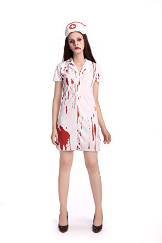 MARIAN Nurse Blooded Halloween Costume Scary Outfit for Women