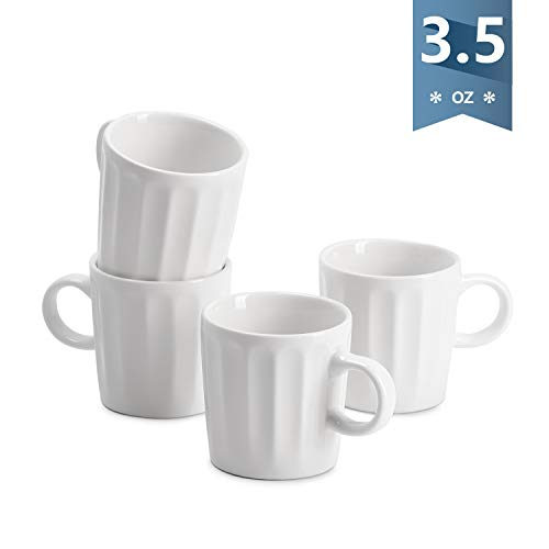 - Sweese 4321 Porcelain Espresso Cups - 3.5 Ounce - Set of 4, Fluted cups, White