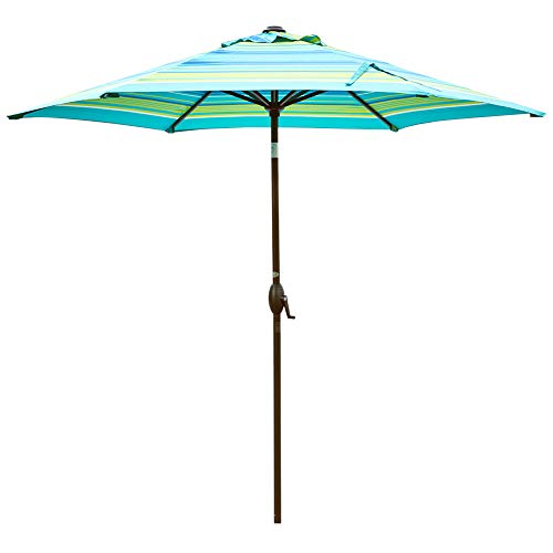 Abba Patio Outdoor 9-Feet Table Umbrella with Push Button Tilt and Crank Lift, Turquoise - Autumn Base Finished Rust